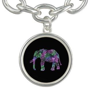 Bracelete elefante de néon floral tribal colorido
