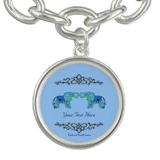 Bracelete Elefante do Henna (azul/luz - azul)