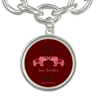 Bracelete Elefante do Henna (vermelho/rosa)