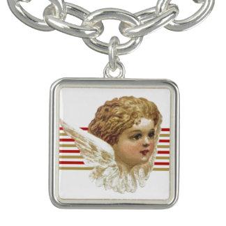 Bracelete encantador com motriz do anjo do vintage