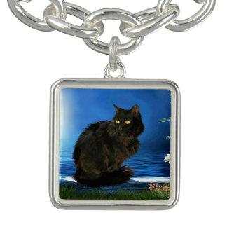 Bracelete mágico do encanto do gato preto