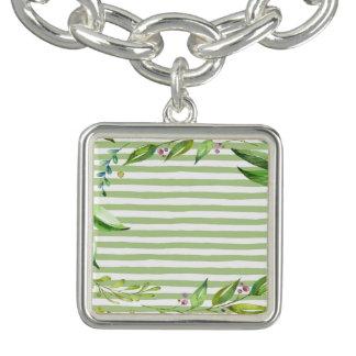 Bracelete O verde corajoso da arte da aguarela listra o