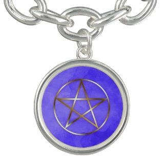Bracelete oculto da estrela do Pentagram do ouro
