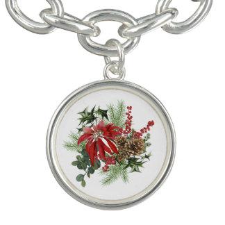 Bracelete poinsétia moderna do feriado do vintage floral