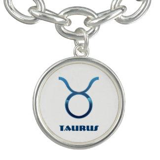 Bracelete Sinais azuis do zodíaco do Taurus no branco