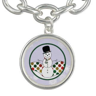 Braceletes Arte de Polkadot do boneco de neve do Natal