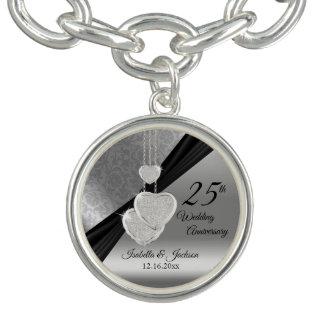 Braceletes Com Charm 25o Lembrança do aniversário de casamento de prata
