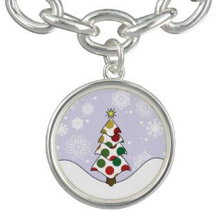 Braceletes Com Charm Arte da árvore de Natal de Polkadot