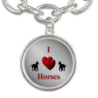 Braceletes Com Charm Design legal dos cavalos do coração de I