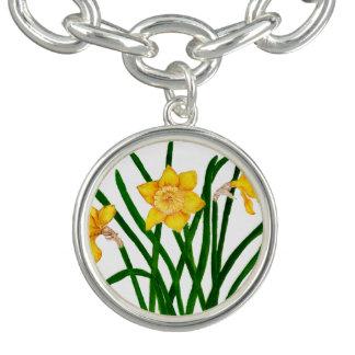 Braceletes Com Charm O Daffodil floresce trabalhos de arte da pintura