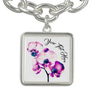 Braceletes Com Charm Orquídeas personalizadas