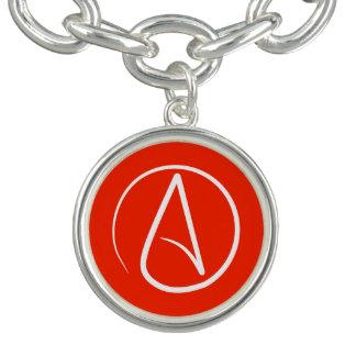 Braceletes Com Charm Símbolo ateu: branco no vermelho