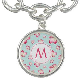 Braceletes Com Charms Aqua cor-de-rosa do monograma do Frangipani
