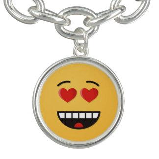 Braceletes Com Charms Cara de sorriso com olhos Coração-Dados forma