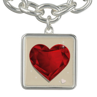 Braceletes Com Charms Coração do vermelho da grandada de Birthstones