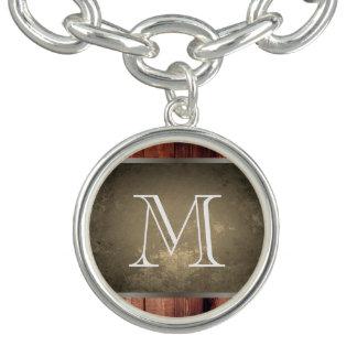 Braceletes Com Charms Madeira chique do Grunge com monograma 2