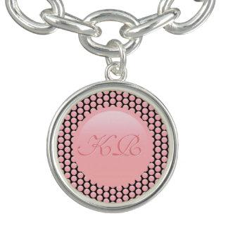Braceletes Com Charms Seu monograma em bolinhas do rosa cor-de-rosa e do