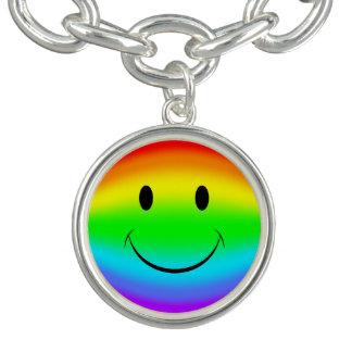 Braceletes Com Charms Smiley do arco-íris