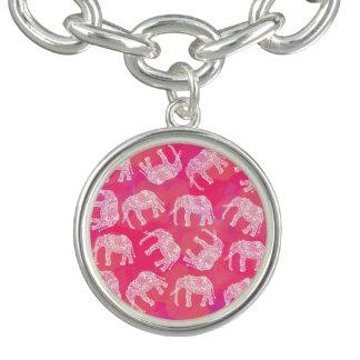 Braceletes Com Charms teste padrão floral tribal colorido cor-de-rosa