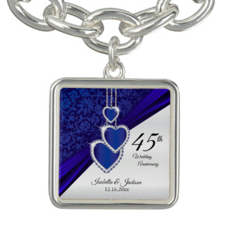 Braceletes Com Pingente 45th Lembrança do aniversário de casamento da