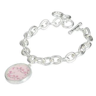 Braceletes Com Pingente Flor de cerejeira - rosa