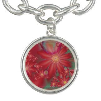 Braceletes Com Pingente Floral vermelho surreal