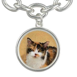 Braceletes Com Pingente Pintura do gato de chita - arte original bonito do