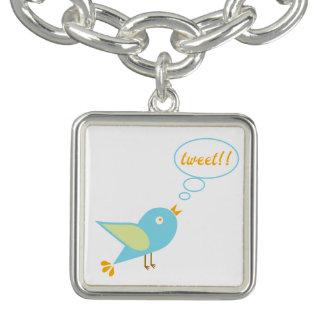 Braceletes Com Pingente Tweet bonito