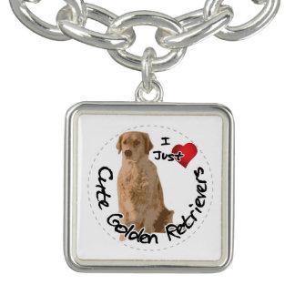 Braceletes Com Pingentes Cão engraçado & bonito adorável feliz do golden