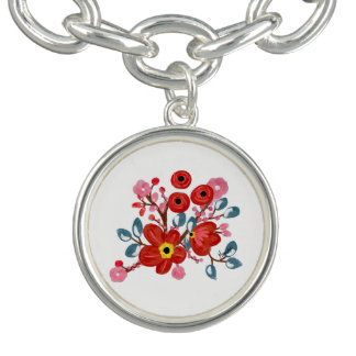Braceletes Com Pingentes Encantos florais