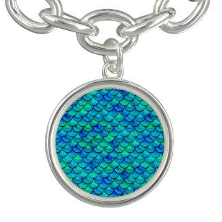 Braceletes Com Pingentes Escalas do azul do Aqua de Falln