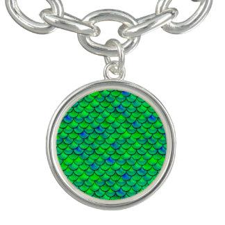 Braceletes Com Pingentes Escalas verdes do azul de Falln