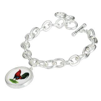 Braceletes Com Pingentes Gamecock:  Escuro - vermelho