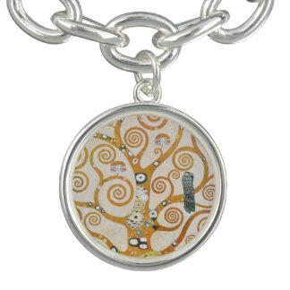 Braceletes Com Pingentes Gustavo Klimt a árvore da arte Nouveau da vida