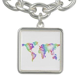 Braceletes Com Pingentes Mapa do mundo do arco-íris