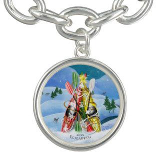 Braceletes Com Pingentes Maravilhas da árvore de Natal do caiaque das