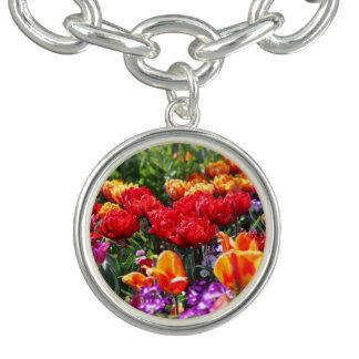 Braceletes Com Pingentes Ondas florais dos carmesins de Falln