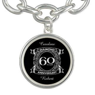 Bracente Com Charm 60th crista do diamante do aniversário de