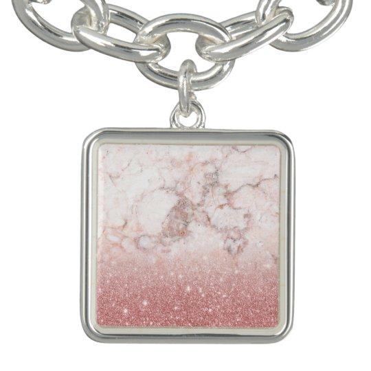 Bracente Com Charm Brilho cor-de-rosa Ombre de mármore branco do ouro