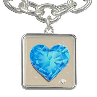 Bracente Com Charm Coração do azul de água-marinha de Birthstones