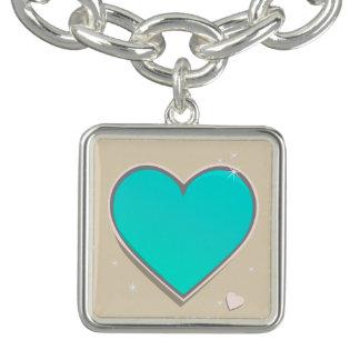 Bracente Com Charm Coração do azul de turquesa de Birthstones