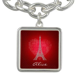 Bracente Com Charm Encanto vermelho do vintage de Paris   do amor