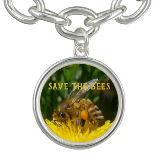 Bracente Com Charm Salvar as abelhas, cresça dentes-de-leão