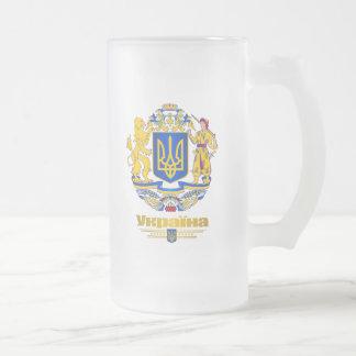 Braços completos de Ucrânia Caneca De Cerveja Vidro Jateado
