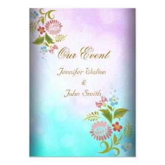 Branco ajustado do casamento roxo cor-de-rosa convite 12.7 x 17.78cm