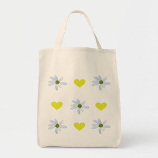 Branco/amarelo/margaridas com corações amarelos sacola tote de mercado