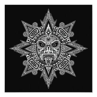 Branco asteca da máscara de Sun no preto Convites