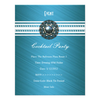 Branco azul da cerceta elegante do cocktail convite personalizados
