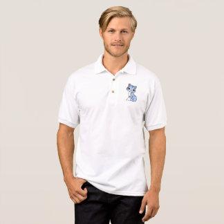 Branco azul do gato do pólo do jérsei do Gildan Camisa Polo