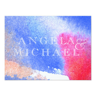 Branco & azul vermelhos convite 16.51 x 22.22cm
